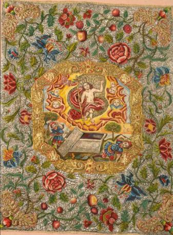 Figure 5 : bannière du saint sacrement ou des expositions avec la scène de la résurrection.